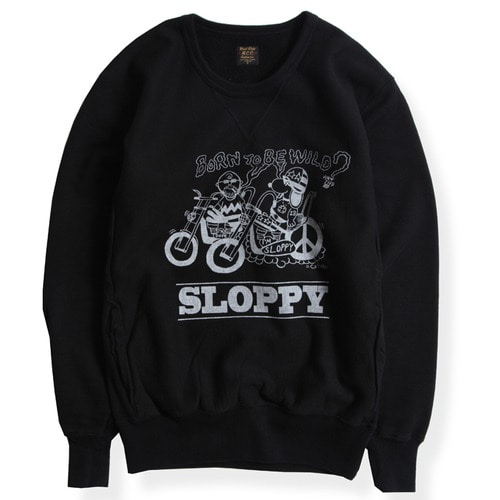 "HEAVY WEIGHT FORNT V SWEAT ""SLOOPY"" (BLK)"