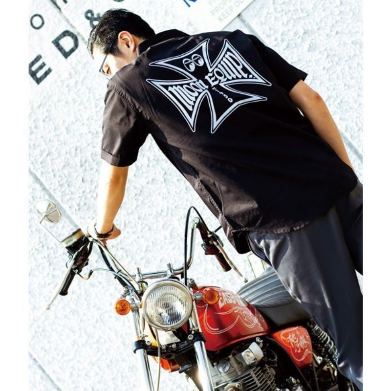 MOON Equipped Iron Cross Work Shirt [MQF047BK]